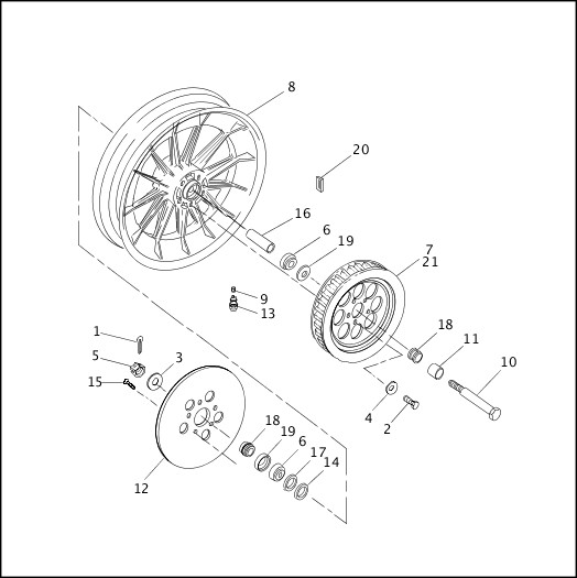 Harley Davidson Wheel Assembly Diagram