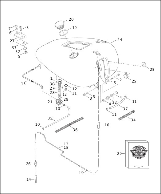 99455 03b 486256 en us 2003 softail models parts catalog harley Farmall H with 6 Volt Positive Ground Wiring Schematic fuel tank fxstd