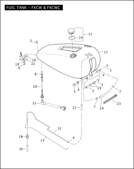 fuel tank - fxcw & fxcwc Harley Davidson Wiring Diagram Manual Fxcwc on