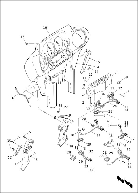 99456-13_486320_en_US - 2013 Touring Models Parts Catalog ... on radio wiring diagram, harley davidson wiring diagram, custom motorcycle wiring diagram, 1999 sportster wiring diagram, harley wiring harness diagram, harley tail light wiring diagram, universal motorcycle speedometer wiring diagram, simple harley wiring diagram,